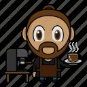 avatar, barista, chibi, coffee, profession icon