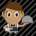 avatar, chibi, profession, restaurant, waiter icon