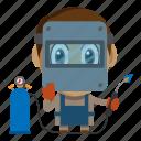avatar, chibi, people, profession, welder icon