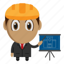 architect, avatar, chibi, construction, profession icon