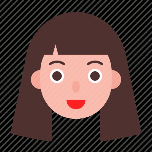 avatar, face, girl, long hair, woman icon