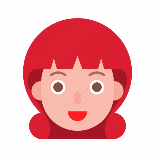 Avatar, female, profile, red, short hair, smile, woman icon - Download on Iconfinder