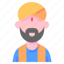 avatar, hindu, indian, man, turban, user icon