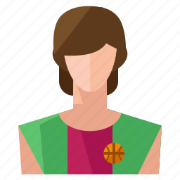 account, avatar, basketball, person, profile, user, woman icon