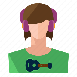 account, avatar, music, profile, user, woman icon