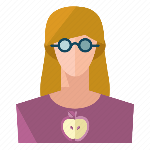 account, avatar, nerd, person, profile, user, woman icon