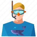 avatar, man, people, person, profile, snorkeling, user icon