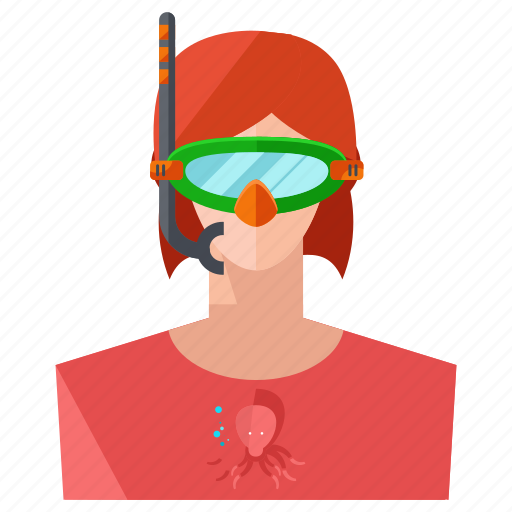 account, avatar, person, profile, snorkeling, user, woman icon