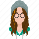 avatar, beanie, beany, beautiful, bonnet, celebrity, character, famous, female, girl, glasses, long hair, mascot, people, person, singer, star, team member, testimonial, user, woman icon