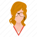 avatar, beautiful, character, female, girl, glasses, mascot, people, person, singer, team member, testimonial, user, woman icon