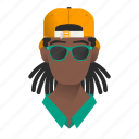 african, avatar, boy, cap, character, fashion, gangster, glasses, guy, handsome, hat, jamaican, male, man, mascot, people, person, rasta, star, team member, testimonial, user icon