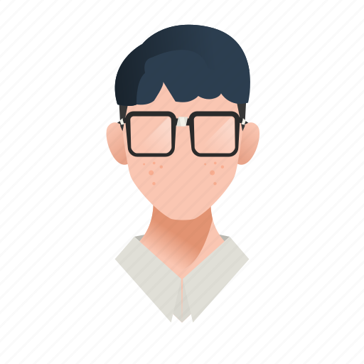 avatar, boy, character, geek, glasses, guy, handsome, male, man, mascot, nerd, people, person, smart, team member, teen, testimonial, user icon