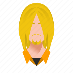 avatar, beard, blond, boy, celebrity, character, famous, guy, handsome, hard rock, long hair, male, man, mascot, people, person, rock, singer, star, team member, testimonial, user icon