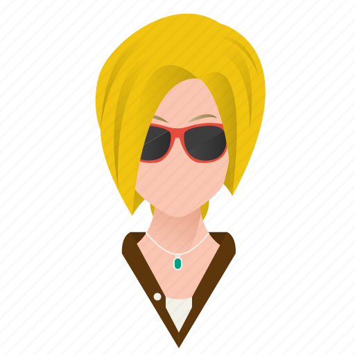 avatar, beautiful, blond, blond hair, celebrity, character, cute, famous, female, girl, glasses, mascot, model, people, person, short hair, star, team member, testimonial, user, woman icon