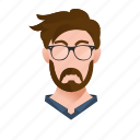 avatar, beard, boy, character, designer, glasses, guy, handsome, hipster, male, man, mascot, moustache, people, person, team member, testimonial, user icon