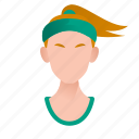 avatar, beautiful, character, female, girl, mascot, people, person, run, sport, sporty, team member, testimonial, user, woman icon