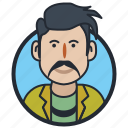 avatar, man, mustache man icon