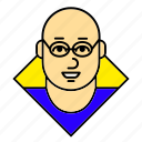 account, avatar, bald, glasses, man, profile, user icon