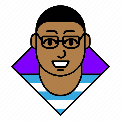 account, avatar, glasses, man, person, profile, user icon