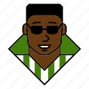 account, afro, avatar, man, person, profile, sunglasses icon