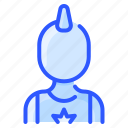 avatar, man, mohawk, punk, user, white icon