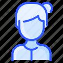 avatar, bun, high, user, white, woman