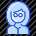 avatar, glasses, hair, thick, user, white, woman