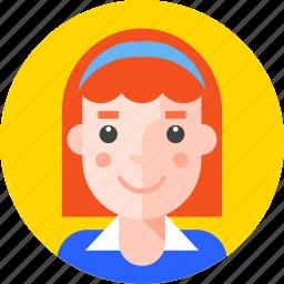 girl, lady, pupil, redhead, school, schoolgirl, student icon