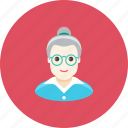 avatar, face, glasses, grandmother, old, profile, woman