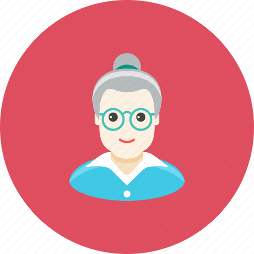 avatar, face, glasses, grandmother, old, profile, woman icon