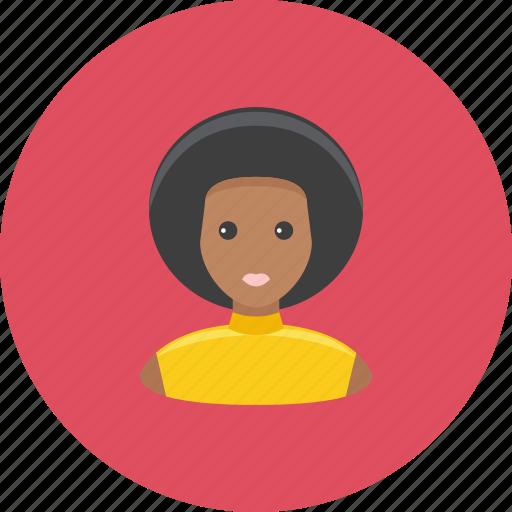avatar, face, hair, lush, negro, profile, woman icon