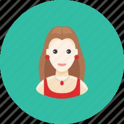 avatar, dress, earrings, face, jewelry, profile, woman icon