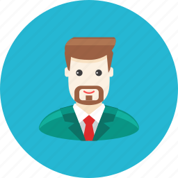 avatar, beard, businessman, face, profile, suit, tie icon