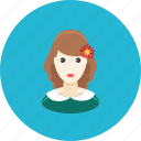avatar, dress, face, flower, girl, profile, teenager icon