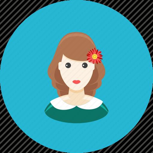 avatar, dress, face, flower, girl, profile, teenager icon
