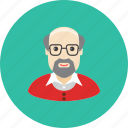 avatar, beard, face, glasses, grandfather, old, profile icon