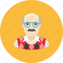 avatar, face, glasses, grandfather, mustache, profile, waistcoat icon