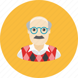avatar, face, glasses, grandfather, mustache, profile, waistcoat icon