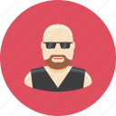 avatar, bald, biker, face, glasses, man, profile