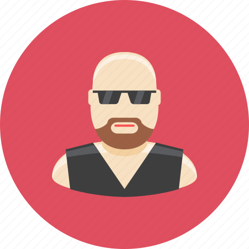 avatar, bald, biker, face, glasses, man, profile icon