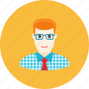 avatar, face, glasses, man, profile, shirt, tie icon