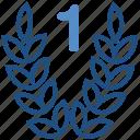 1st, award, laurel wreath, prize, reward, ribbon, victory
