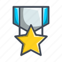 achievement, army, badge, star icon