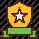star, award, shield, medal, badge