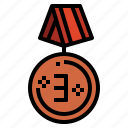 bronze, prize, medal, competition icon