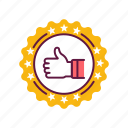 achievement, award, badge, finger, medal, victory, winner icon