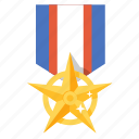 award, badge, bravery, gold, medal, prize, star icon