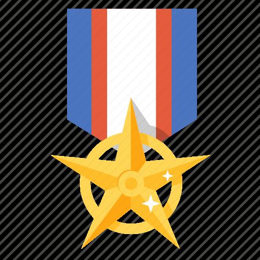 award, badge, bravery, gold, medal, prize, star icon