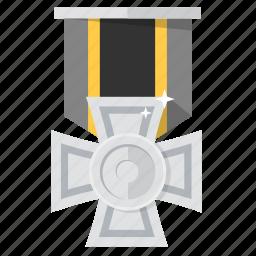 award, badge, brave, bronze, medal, prize, silver icon