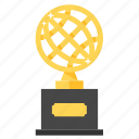award, globe, golden, prize, trophy, achievement, winner